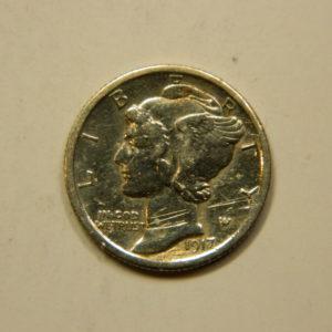 1 Dime Mercury 1917 SUP Etats-Unis Argent 900 °/°° EB90976