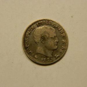 5 Soldi 1812M TB+ Etat d'Italie règne de Napoléon 1er  Argent 900 °/°° EB90979