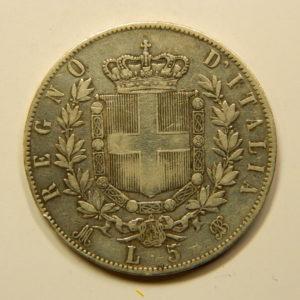 5 Lire Vittorio Emanuele II 1872M TTB++ Italie Argent 900 °/°° EB90980