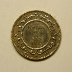 1 Franc 1916 SUP TUNISIE Protectorat Fr Argent 835°/°° EB90981