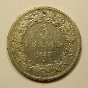 5 Francs Léopold 1er 1833 TB+ Belgique Argent 900 °/°°  EB90983