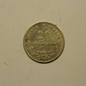 20 Centesimi Vittorio Emanuele II 1863MBN SUP Italie Argent 835 °/°° EB90987