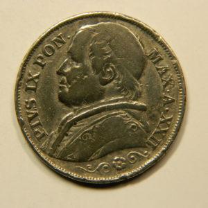 2 Lire Pie IX Stato Pontificio 1867 TTB ITALIE Argent 835 °/°°  EB90989