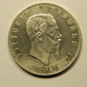 5 Lire Vittorio Emanuele II 1875R TTB++ Italie Argent 900 °/°° EB90990