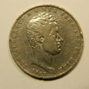5 Lire Albertus 1847 TTB Etat d'Italie Sardaigne Argent 900 °/°° EB90998