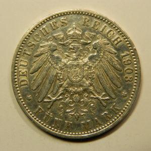 5 Deutsch Reich Mark 1903 J SPL Allemagne Argent 900 °/°°  EB90999