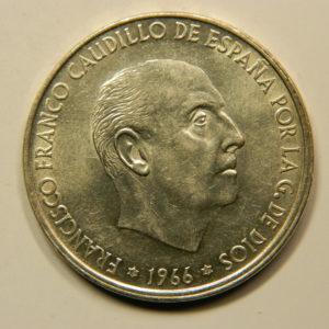 100 Pesetas 1966 SUP Argent 800°/°° Espagne EB91007
