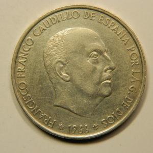 100 Pesetas 1966/66 dans Etoile TTB+ Argent 800°/°° Espagne EB91008
