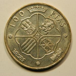 100 Pesetas 1966/66 dans Etoile TTB++ Argent 800°/°° Espagne EB91009