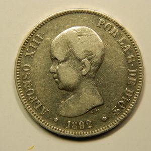 5 Pesetas Alphonse XIII 1890M TTB+ Argent 900°/°° Espagne EB91011