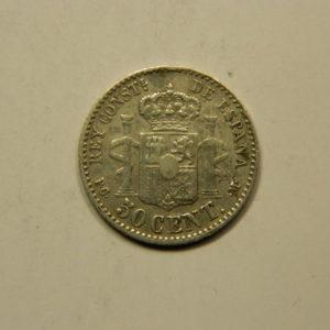 50 Centimos Alphonse XIII 1892M TTB Argent 835°/°° Espagne EB91012