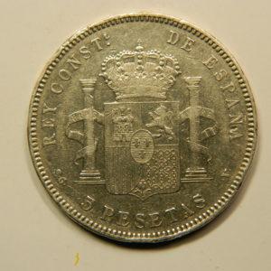 5 Pesetas Alphonse XIII 1898V TTB++ Argent 900°/°° Espagne EB91016