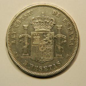 5 Pesetas Alphonse XII 1879M TTB+ Argent 900°/°° Espagne EB91018