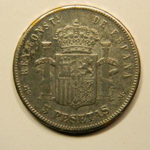 5 Pesetas Alphonse XII Rouflaquettes 1884M TTB+ Argent 900°/°° Espagne EB91019