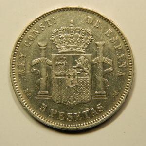 5 Pesetas Alphonse XIII 1890M TTB Argent 900°/°° Espagne EB91020