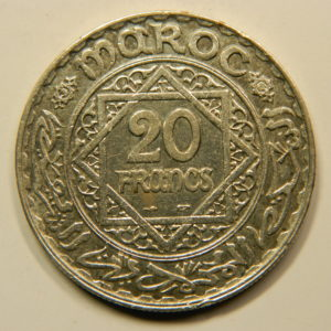20 Francs 1352H-1933 SPL Mohamed V Argent 680°/°° MAROC EB91041