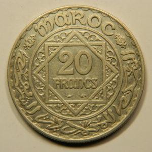 20 Francs 1347H-1928 SUP Mohamed V Argent 680°/°° MAROC EB91042