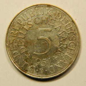 5 Deutsch mark 1951 D TTB Allemagne Argent 625 °/°°  EB91049