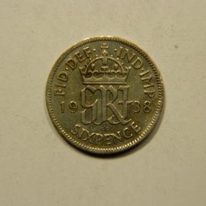 6 Pence Georges VI 1938 TTB Angleterre Argent 500 °/°° EB91054
