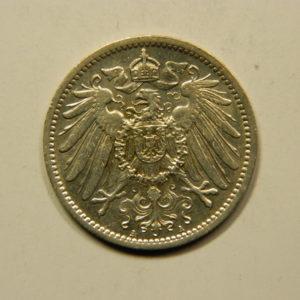 1 Mark Wilhem II 1908A SUP Allemagne Argent 900 °/°°  EB91055