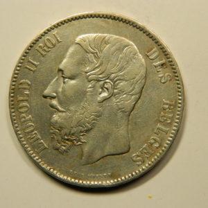 5 Francs Léopold II 1876 TTB+ Belgique Argent 900 °/°°  EB91063