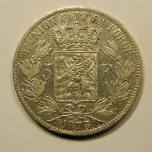 5 Francs Léopold II 1873 TTB+/SUP Belgique Argent 900 °/°°  EB91066