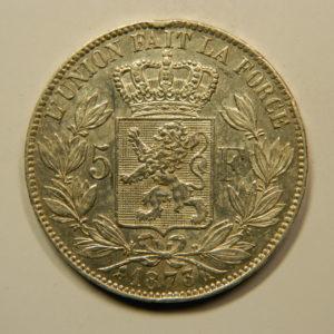 5 Francs Léopold II 1873 TTB+/SUP Belgique Argent 900 °/°°  EB91067