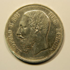 5 Francs Léopold II 1873 TTB Belgique Argent 900 °/°°  EB91069