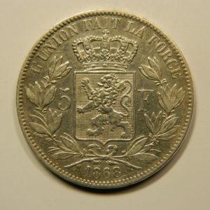 5 Francs Léopold II 1868 TTB+ Belgique Argent 900 °/°°  EB91070