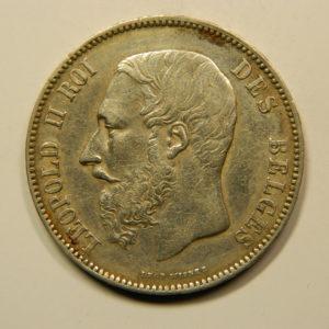 5 Francs Léopold II 1873 TTB+/SUP Belgique Argent 900 °/°°  EB91073