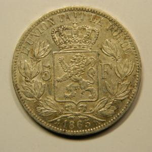 5 Francs Léopold 1er 1865 Ti TTB Belgique Argent 900 °/°°  EB91074