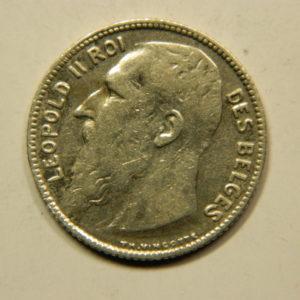 1 Franc Léopold II 1909 TTB Belgique Argent 835 °/°° EB91077