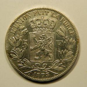 5 Francs Léopold II 1873 TTB Belgique Argent 900 °/°°  EB91079