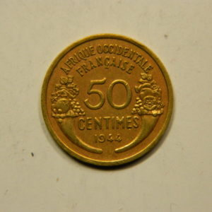 50 Centimes Afrique Occidentale Française 1944 TTB EB91094