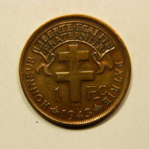 1 Franc Afrique Equatoriale Fr Libre 1943 SPL+ EB91098