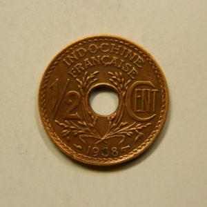 1/2 Cent Indochine Française 1938 SUP EB91106