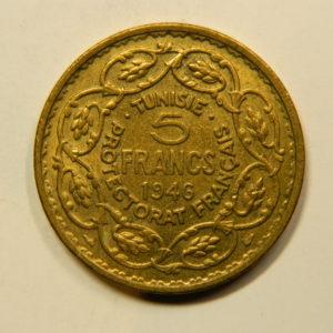 5 Francs TUNISIE 1946 SPL EB91130