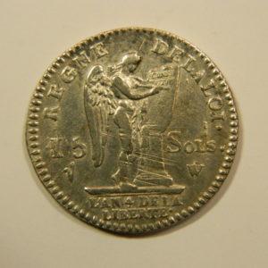 15 SOLS François Louis XVI 1792W Argent TTB EB90122