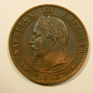 10 Centimes Napoléon III 1863BB SUP RARE EB90123