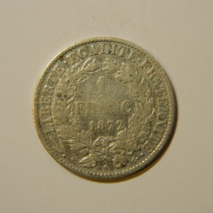 1 Franc Cérès 1872A TTB Argent 835°/°° EB90160