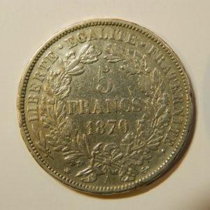 5 Francs Cérès avec légende 1870A SUP-  EB90161