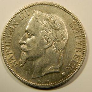 5 Francs Napoléon III tête laurée 1868A SUP EB90167