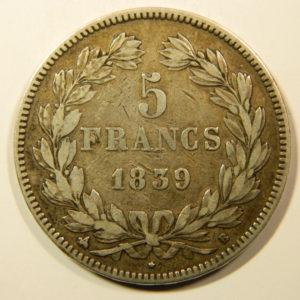 5 Francs Louis-Philippe Ier 1838B TTB+  EB90174