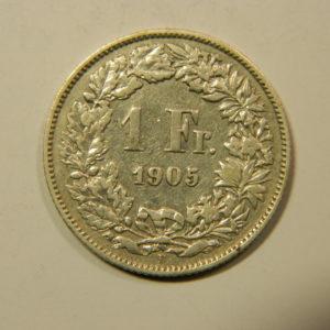 1 Franc Suisse 1905 TTB Argent 835 °/°°  EB90217